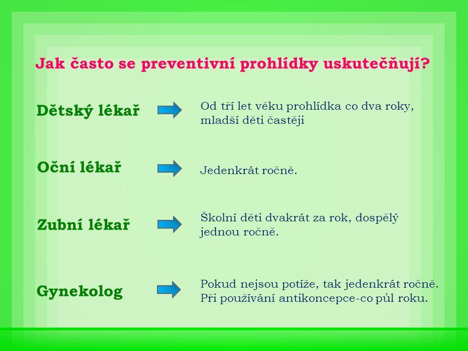 Všechny preventivní prohlídky jsou hrazeny zdravotní pojišťovnou.