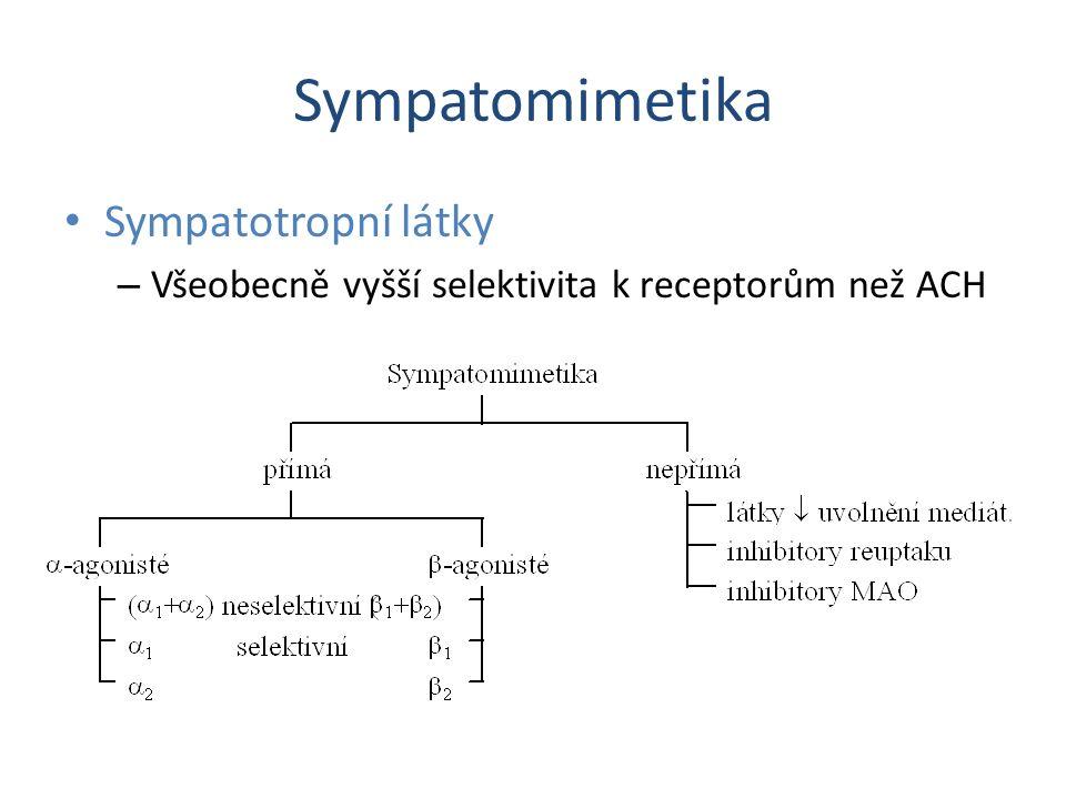Sympatomimetika Sympatotropní látky – Všeobecně vyšší selektivita k receptorům než ACH