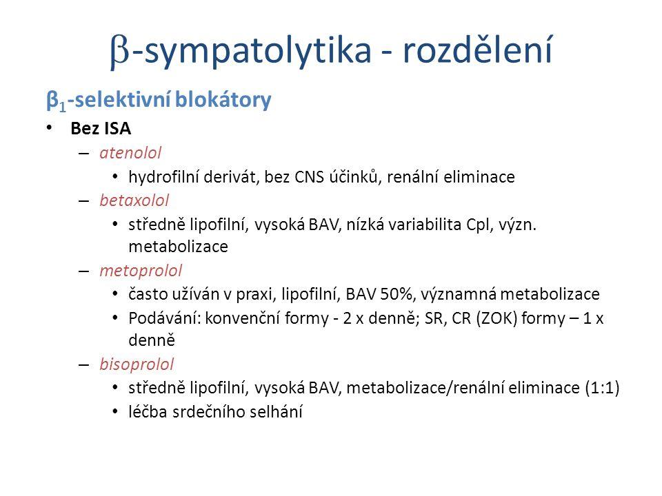 β 1 -selektivní blokátory Bez ISA – atenolol hydrofilní derivát, bez CNS účinků, renální eliminace – betaxolol středně lipofilní, vysoká BAV, nízká va