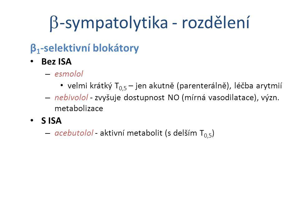 β 1 -selektivní blokátory Bez ISA – esmolol velmi krátký T 0,5 – jen akutně (parenterálně), léčba arytmií – nebivolol - zvyšuje dostupnost NO (mírná v