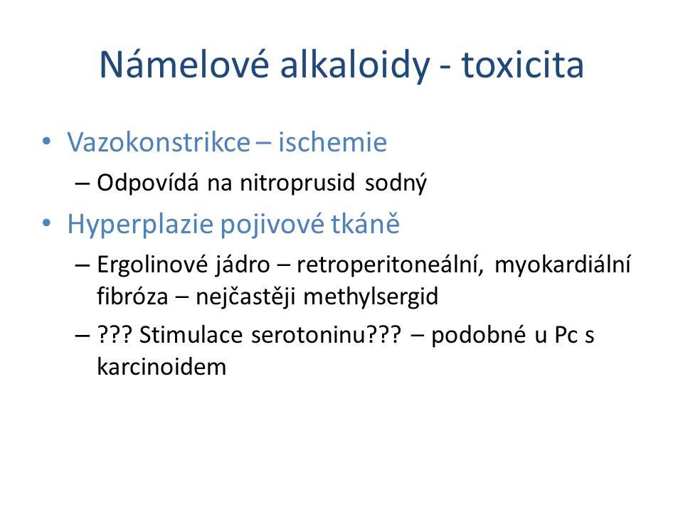 Námelové alkaloidy - toxicita Vazokonstrikce – ischemie – Odpovídá na nitroprusid sodný Hyperplazie pojivové tkáně – Ergolinové jádro – retroperitoneá