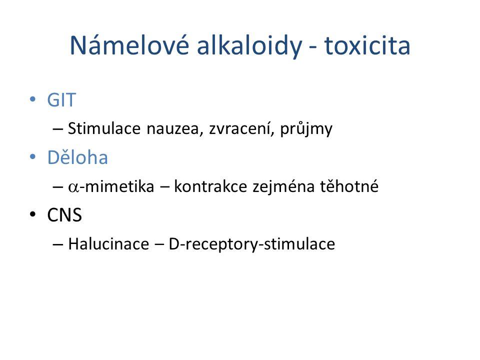 Námelové alkaloidy - toxicita GIT – Stimulace nauzea, zvracení, průjmy Děloha –  -mimetika – kontrakce zejména těhotné CNS – Halucinace – D-receptory
