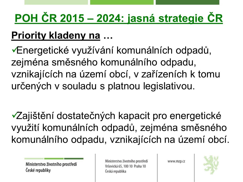 POH ČR 2015 – 2024: jasná strategie ČR Priority kladeny na … Energetické využívání komunálních odpadů, zejména směsného komunálního odpadu, vznikajících na území obcí, v zařízeních k tomu určených v souladu s platnou legislativou.