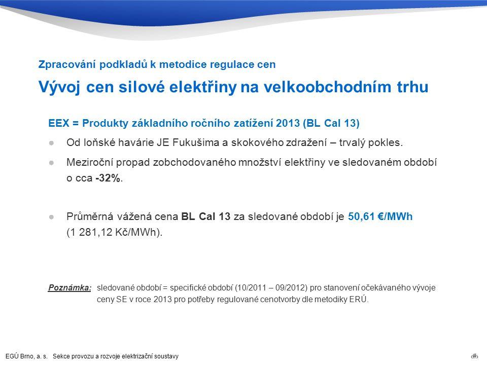 EGÚ Brno, a. s. Sekce provozu a rozvoje elektrizační soustavy 11 Vývoj cen silové elektřiny na velkoobchodním trhu EEX = Produkty základního ročního z