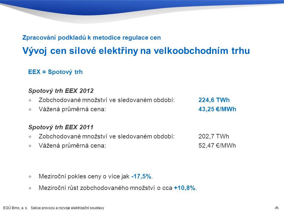 EGÚ Brno, a. s. Sekce provozu a rozvoje elektrizační soustavy 15 Vývoj cen silové elektřiny na velkoobchodním trhu EEX = Spotový trh Spotový trh EEX 2