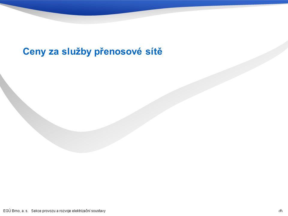 EGÚ Brno, a. s. Sekce provozu a rozvoje elektrizační soustavy 22 Ceny za služby přenosové sítě