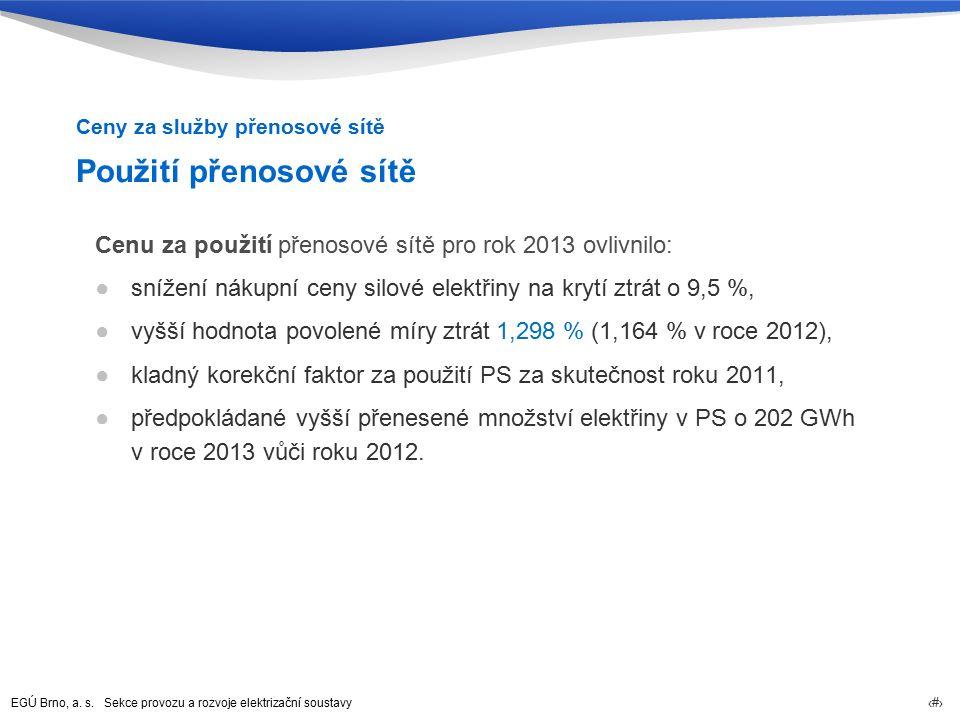 EGÚ Brno, a. s. Sekce provozu a rozvoje elektrizační soustavy 26 Použití přenosové sítě Cenu za použití přenosové sítě pro rok 2013 ovlivnilo: ●snížen