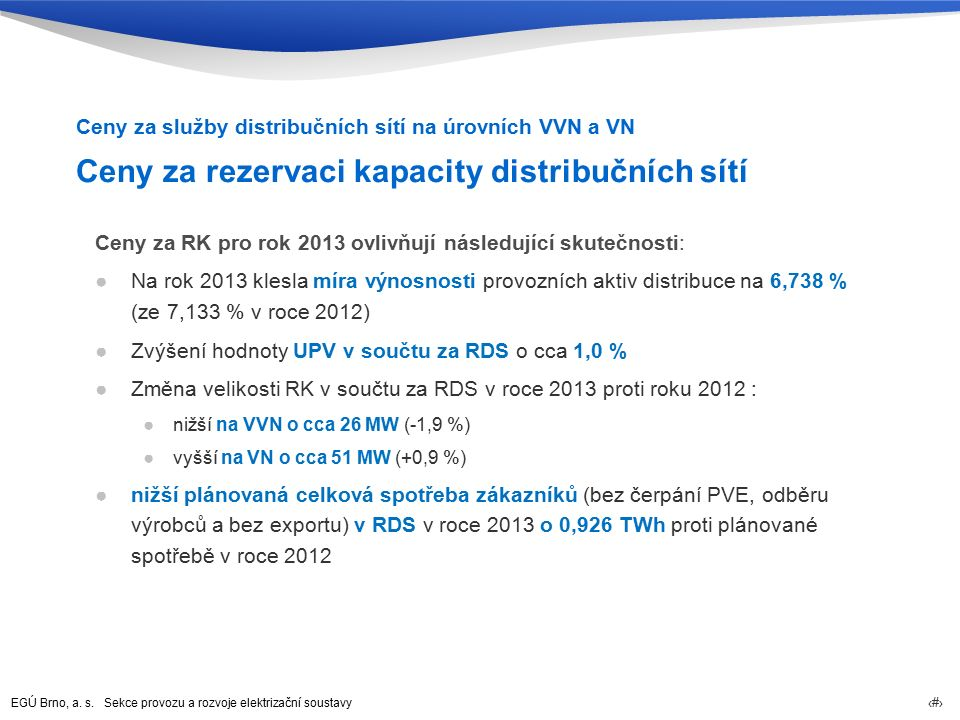 EGÚ Brno, a. s. Sekce provozu a rozvoje elektrizační soustavy 35 Ceny za rezervaci kapacity distribučních sítí Ceny za RK pro rok 2013 ovlivňují násle