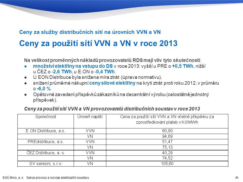 EGÚ Brno, a. s. Sekce provozu a rozvoje elektrizační soustavy 38 Ceny za použití sítí VVN a VN v roce 2013 Ceny za služby distribučních sítí na úrovní