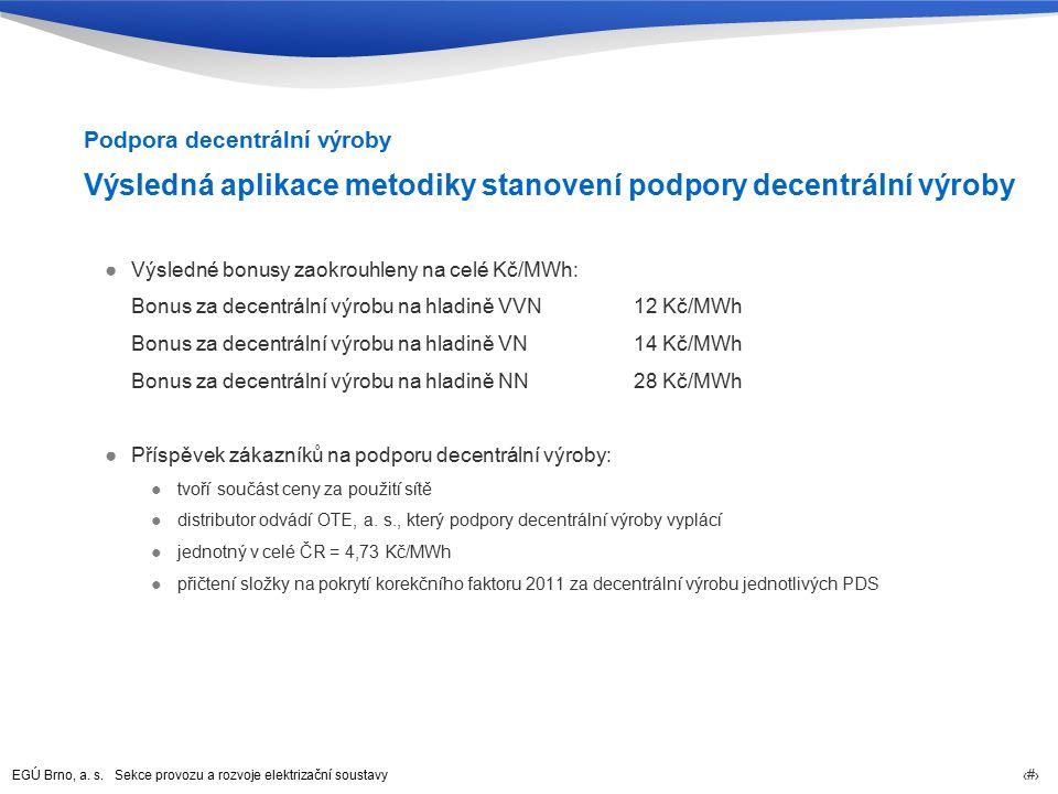 EGÚ Brno, a. s. Sekce provozu a rozvoje elektrizační soustavy 45 Výsledná aplikace metodiky stanovení podpory decentrální výroby ●Výsledné bonusy zaok