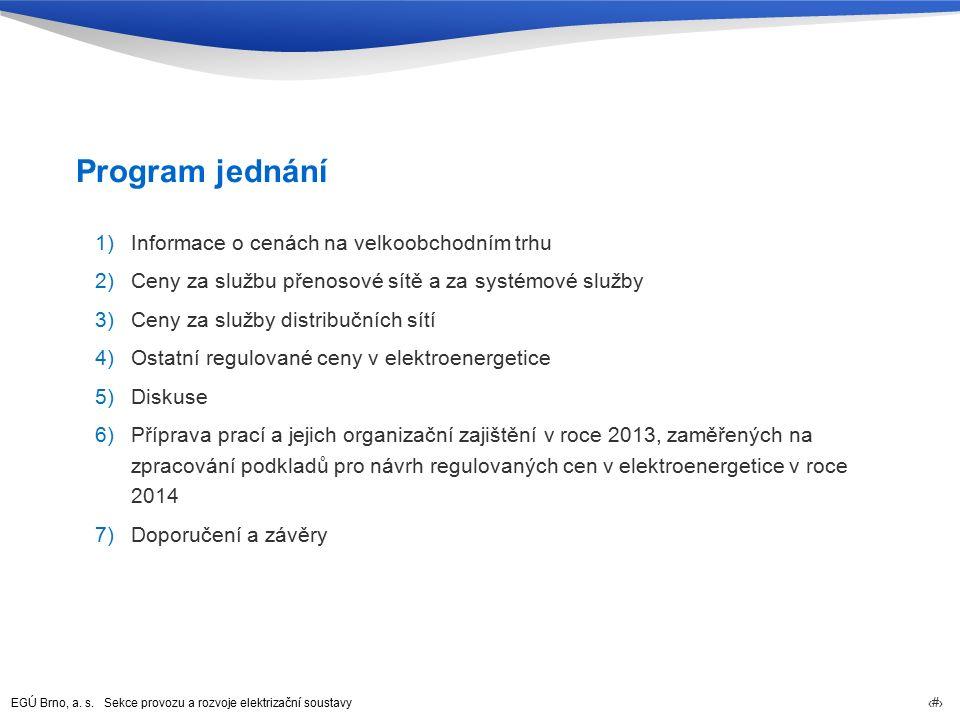 EGÚ Brno, a. s. Sekce provozu a rozvoje elektrizační soustavy 6 Program jednání 1)Informace o cenách na velkoobchodním trhu 2)Ceny za službu přenosové