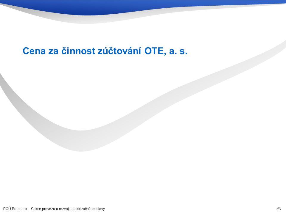 EGÚ Brno, a. s. Sekce provozu a rozvoje elektrizační soustavy 60 Cena za činnost zúčtování OTE, a. s.