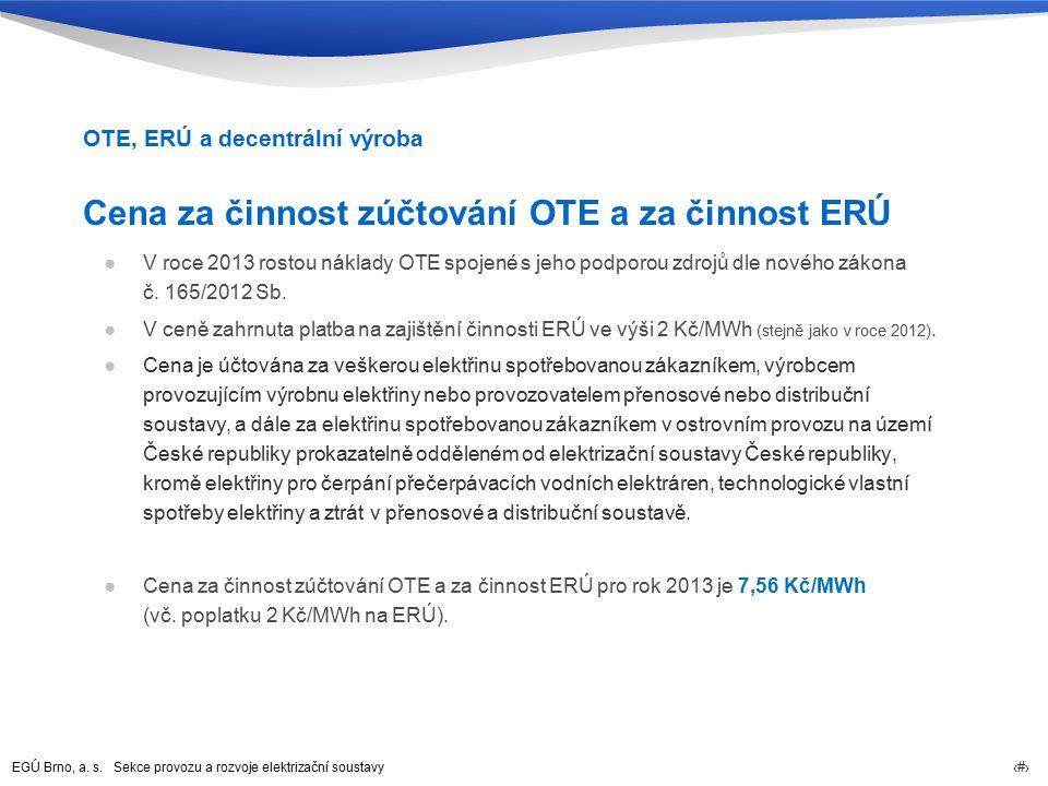 EGÚ Brno, a. s. Sekce provozu a rozvoje elektrizační soustavy 61 Cena za činnost zúčtování OTE a za činnost ERÚ ●V roce 2013 rostou náklady OTE spojen