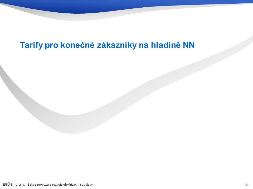 EGÚ Brno, a. s. Sekce provozu a rozvoje elektrizační soustavy 68 Tarify pro konečné zákazníky na hladině NN