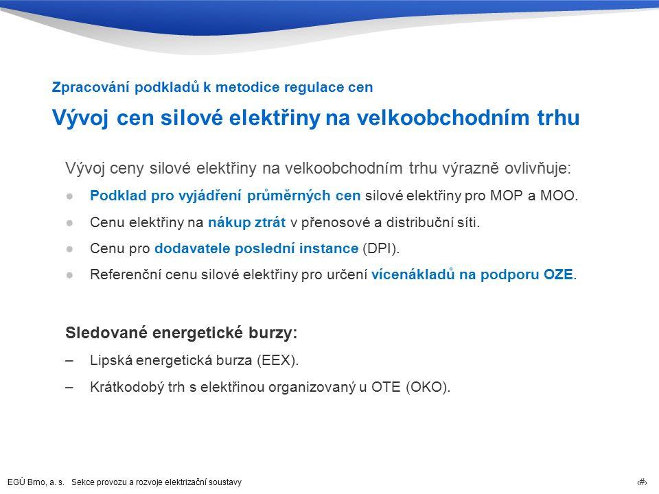 EGÚ Brno, a. s. Sekce provozu a rozvoje elektrizační soustavy 8 Vývoj cen silové elektřiny na velkoobchodním trhu Vývoj ceny silové elektřiny na velko