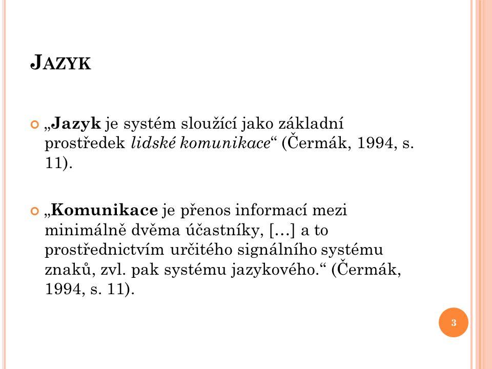 """J AZYK """" Jazyk je systém sloužící jako základní prostředek lidské komunikace """" (Čermák, 1994, s. 11). """" Komunikace je přenos informací mezi minimálně"""