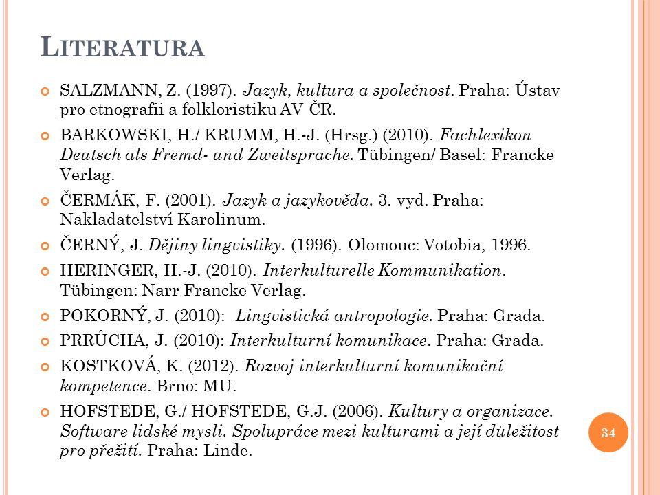 L ITERATURA SALZMANN, Z. (1997). Jazyk, kultura a společnost.