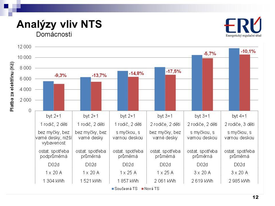 Analýzy vliv NTS 12 Domácnosti