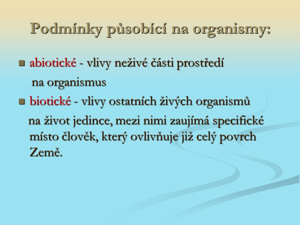 Podmínky působící na organismy: abiotické - vlivy neživé části prostředí abiotické - vlivy neživé části prostředí na organismus na organismus biotické