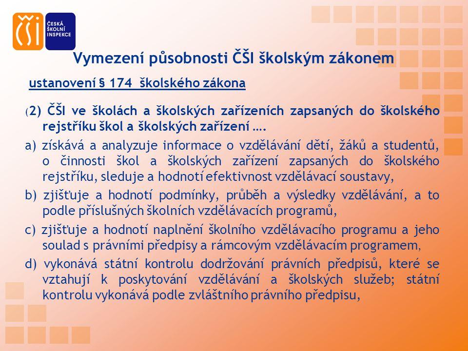 ustanovení § 174 školského zákona ( 2) ČŠI ve školách a školských zařízeních zapsaných do školského rejstříku škol a školských zařízení ….
