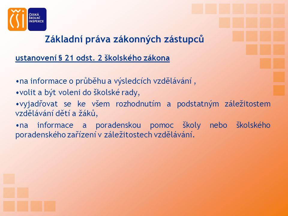 Základní práva zákonných zástupců ustanovení § 21 odst.