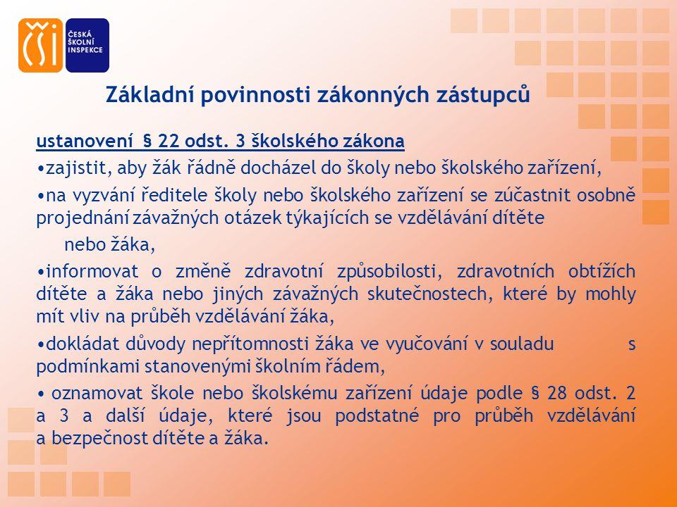 Základní povinnosti zákonných zástupců ustanovení § 22 odst.