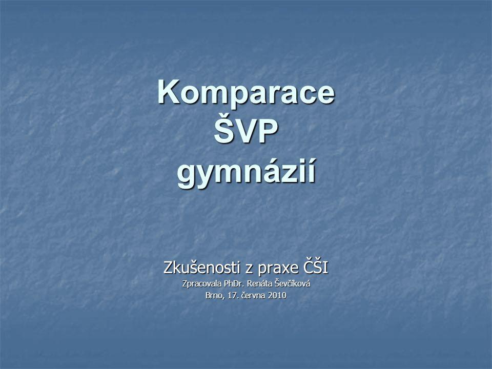 Komparace ŠVP gymnázií Zkušenosti z praxe ČŠI Zpracovala PhDr. Renáta Ševčíková Brno, 17. června 2010