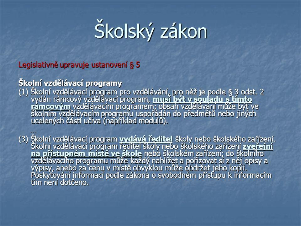 Školský zákon Legislativně upravuje ustanovení § 5 Školní vzdělávací programy (1) Školní vzdělávací program pro vzdělávání, pro něž je podle § 3 odst.