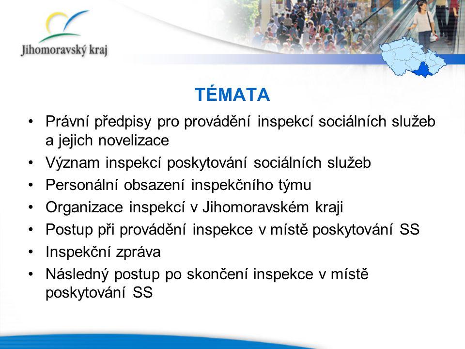 TÉMATA Právní předpisy pro provádění inspekcí sociálních služeb a jejich novelizace Význam inspekcí poskytování sociálních služeb Personální obsazení