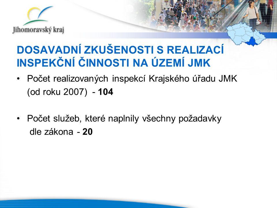 DOSAVADNÍ ZKUŠENOSTI S REALIZACÍ INSPEKČNÍ ČINNOSTI NA ÚZEMÍ JMK Počet realizovaných inspekcí Krajského úřadu JMK (od roku 2007) - 104 Počet služeb, k