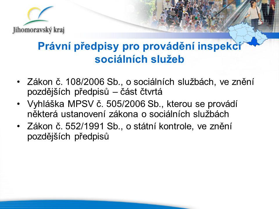 Právní předpisy pro provádění inspekcí sociálních služeb Zákon č.