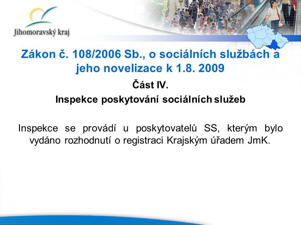 Zákon č. 108/2006 Sb., o sociálních službách a jeho novelizace k 1.8. 2009 Část IV. Inspekce poskytování sociálních služeb Inspekce se provádí u posky