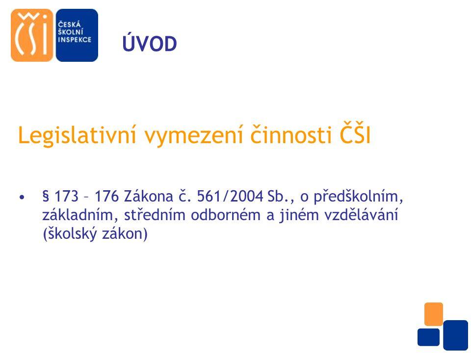 ÚVOD Legislativní vymezení činnosti ČŠI § 173 – 176 Zákona č.