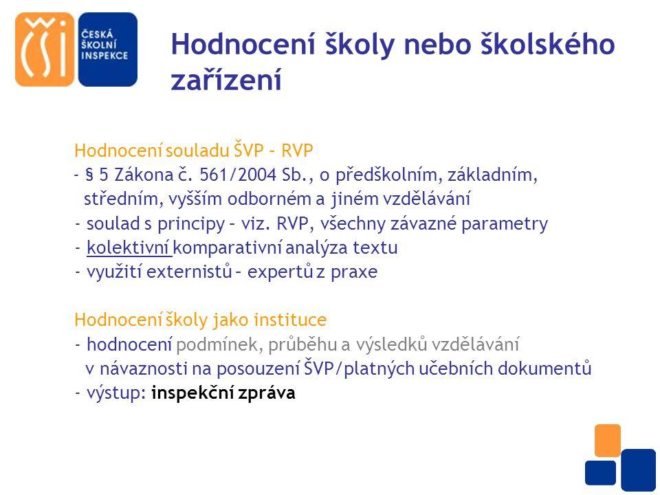 Hodnocení školy nebo školského zařízení Hodnocení souladu ŠVP – RVP - § 5 Zákona č.