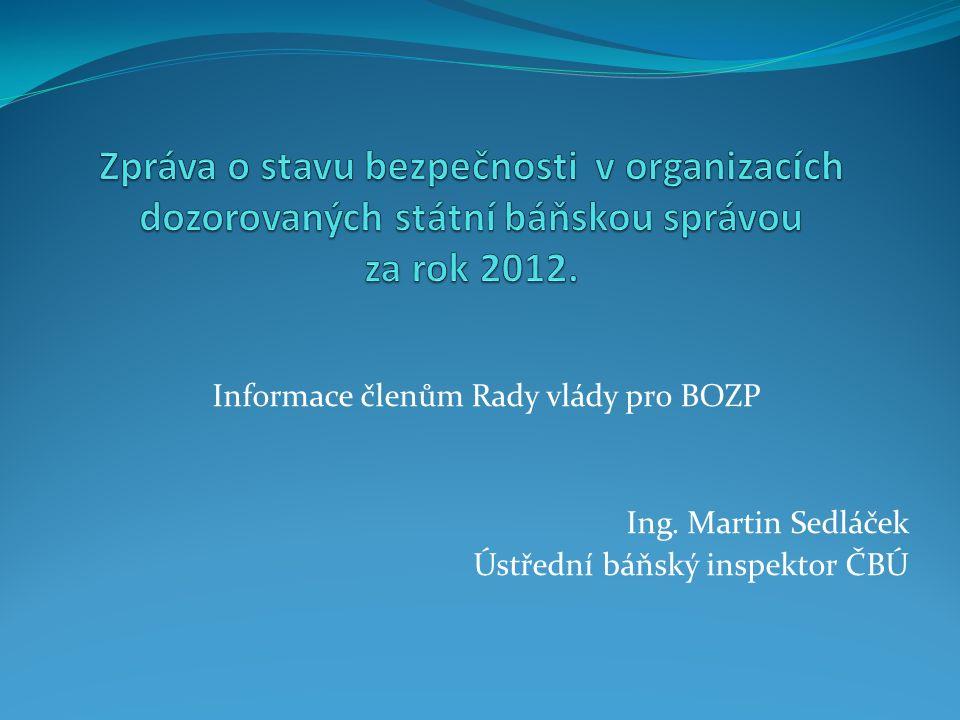 Informace členům Rady vlády pro BOZP Ing. Martin Sedláček Ústřední báňský inspektor ČBÚ