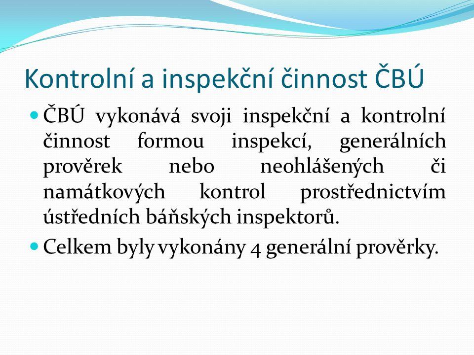 Kontrolní a inspekční činnost ČBÚ ČBÚ vykonává svoji inspekční a kontrolní činnost formou inspekcí, generálních prověrek nebo neohlášených či namátkových kontrol prostřednictvím ústředních báňských inspektorů.
