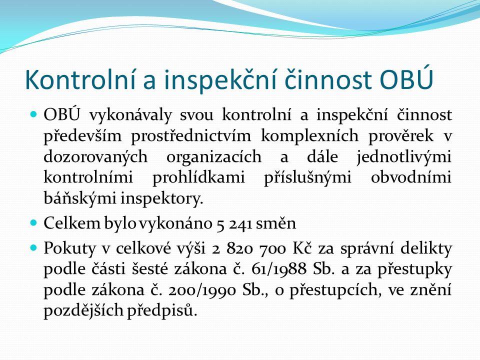 Kontrolní a inspekční činnost OBÚ OBÚ vykonávaly svou kontrolní a inspekční činnost především prostřednictvím komplexních prověrek v dozorovaných organizacích a dále jednotlivými kontrolními prohlídkami příslušnými obvodními báňskými inspektory.