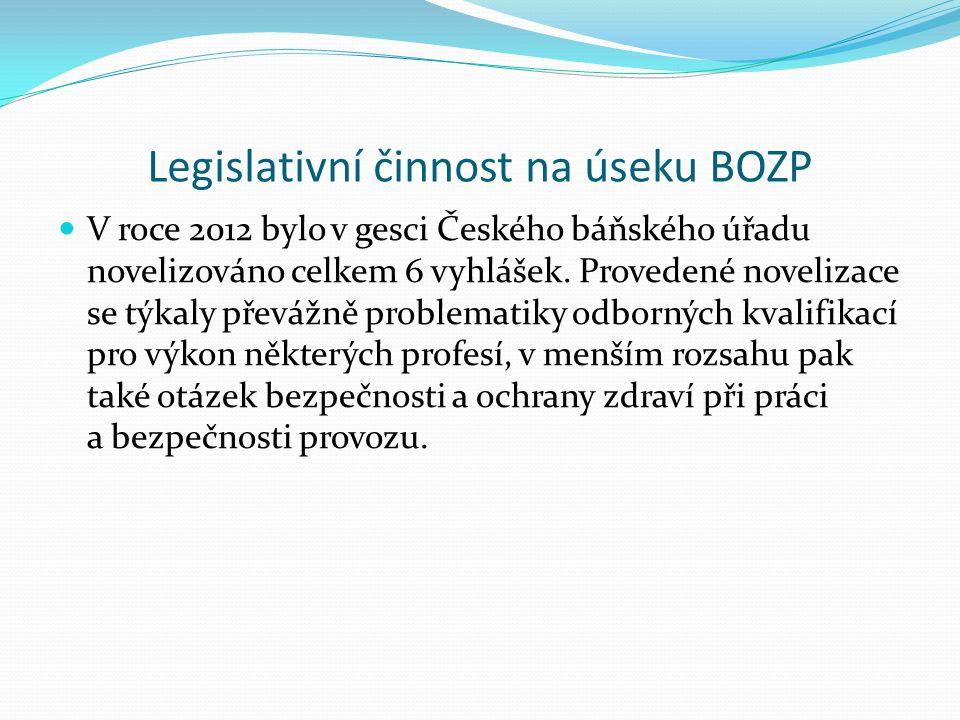 Legislativní činnost na úseku BOZP V roce 2012 bylo v gesci Českého báňského úřadu novelizováno celkem 6 vyhlášek.