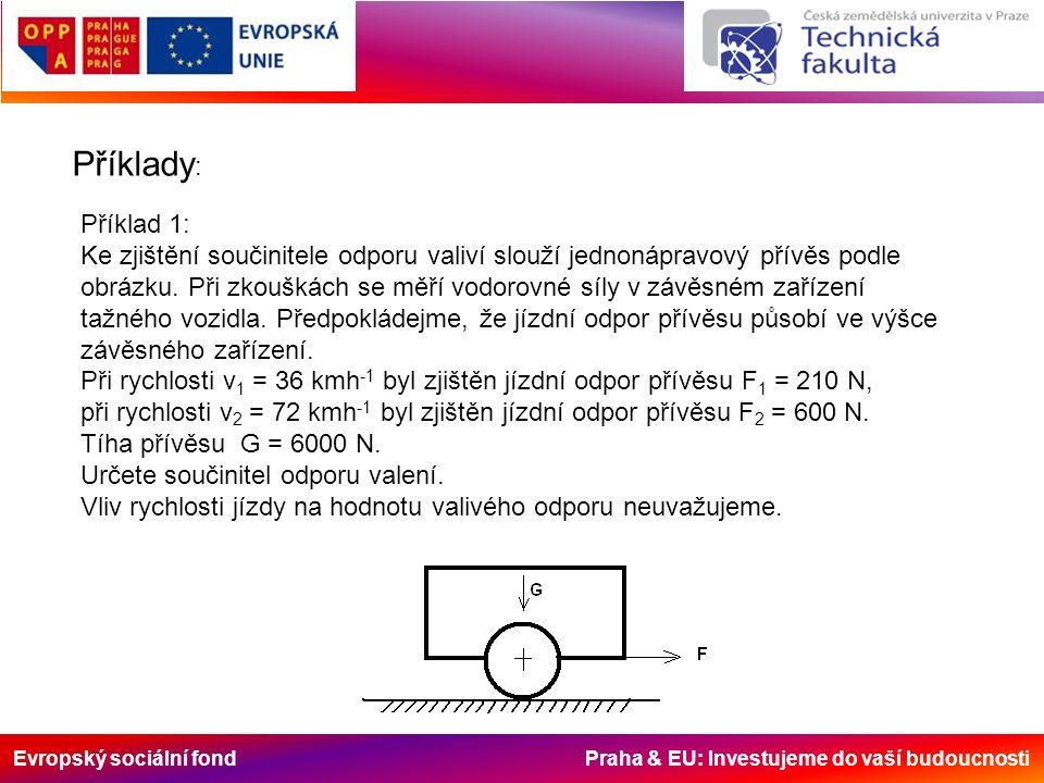 Evropský sociální fond Praha & EU: Investujeme do vaší budoucnosti Příklady : Příklad 1: Ke zjištění součinitele odporu valiví slouží jednonápravový přívěs podle obrázku.