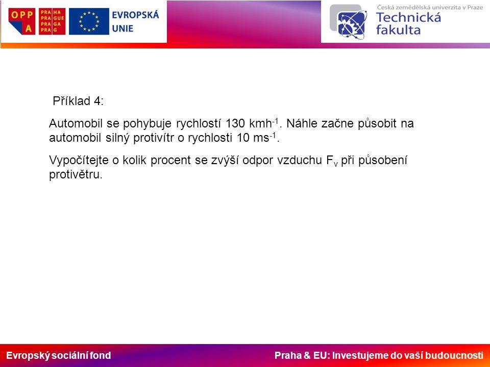 Evropský sociální fond Praha & EU: Investujeme do vaší budoucnosti Příklad 4: Automobil se pohybuje rychlostí 130 kmh -1.