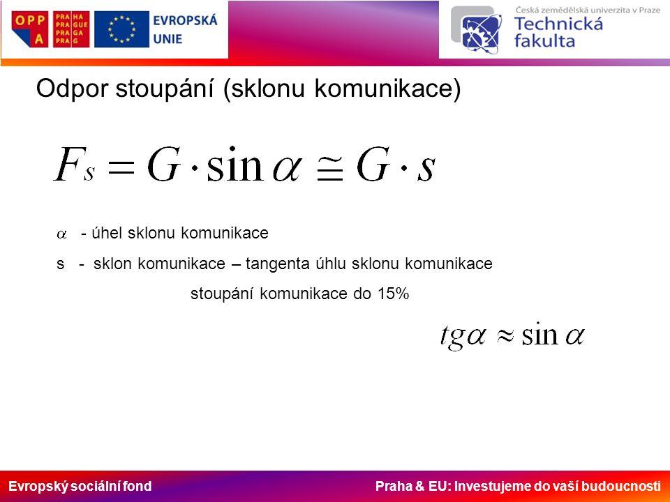 Evropský sociální fond Praha & EU: Investujeme do vaší budoucnosti Odpor stoupání (sklonu komunikace)  - úhel sklonu komunikace s - sklon komunikace – tangenta úhlu sklonu komunikace stoupání komunikace do 15%