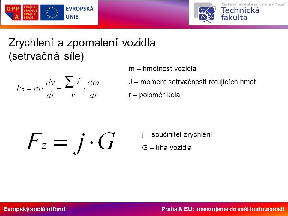 Evropský sociální fond Praha & EU: Investujeme do vaší budoucnosti Zrychlení a zpomalení vozidla (setrvačná síle) m – hmotnost vozidla J – moment setrvačnosti rotujících hmot r – poloměr kola j – součinitel zrychlení G – tíha vozidla