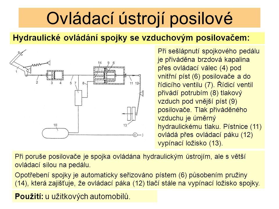 Ovládací ústrojí posilové Hydraulické ovládání spojky se vzduchovým posilovačem: Při sešlápnutí spojkového pedálu je přiváděna brzdová kapalina přes ovládací válec (4) pod vnitřní píst (6) posilovače a do řídicího ventilu (7).
