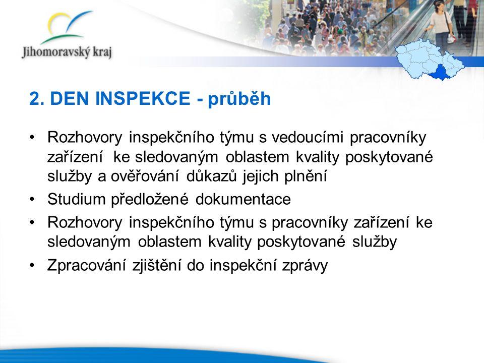 2. DEN INSPEKCE - průběh Rozhovory inspekčního týmu s vedoucími pracovníky zařízení ke sledovaným oblastem kvality poskytované služby a ověřování důka