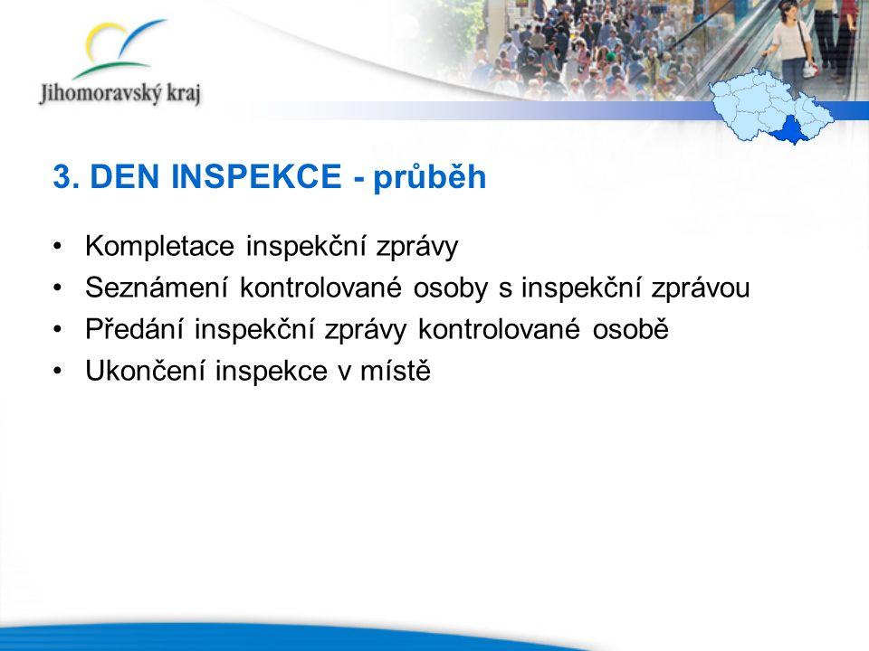 3. DEN INSPEKCE - průběh Kompletace inspekční zprávy Seznámení kontrolované osoby s inspekční zprávou Předání inspekční zprávy kontrolované osobě Ukon