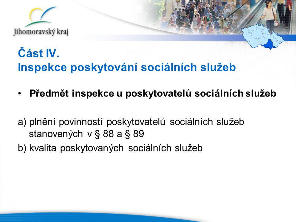 Část IV. Inspekce poskytování sociálních služeb Předmět inspekce u poskytovatelů sociálních služeb a) plnění povinností poskytovatelů sociálních služe