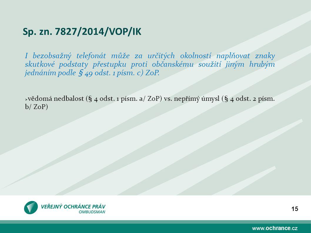 www.ochrance.cz 15 Sp. zn. 7827/2014/VOP/IK I bezobsažný telefonát může za určitých okolností naplňovat znaky skutkové podstaty přestupku proti občans