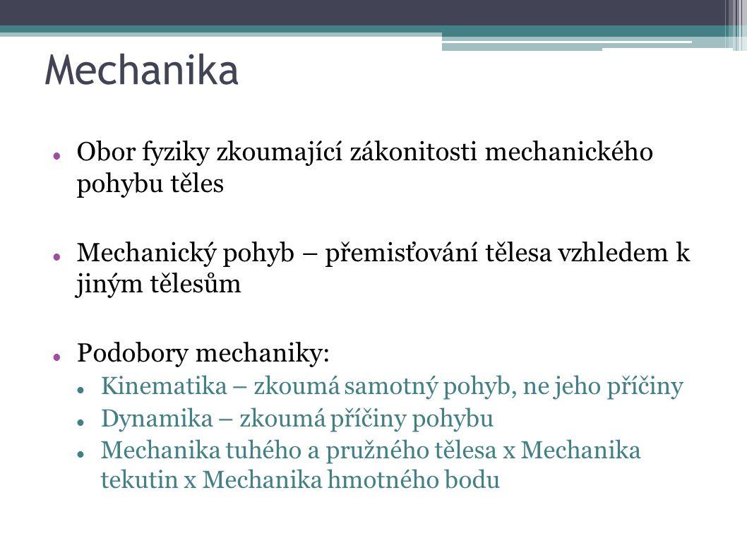 Mechanika Obor fyziky zkoumající zákonitosti mechanického pohybu těles Mechanický pohyb – přemisťování tělesa vzhledem k jiným tělesům Podobory mechaniky: Kinematika – zkoumá samotný pohyb, ne jeho příčiny Dynamika – zkoumá příčiny pohybu Mechanika tuhého a pružného tělesa x Mechanika tekutin x Mechanika hmotného bodu