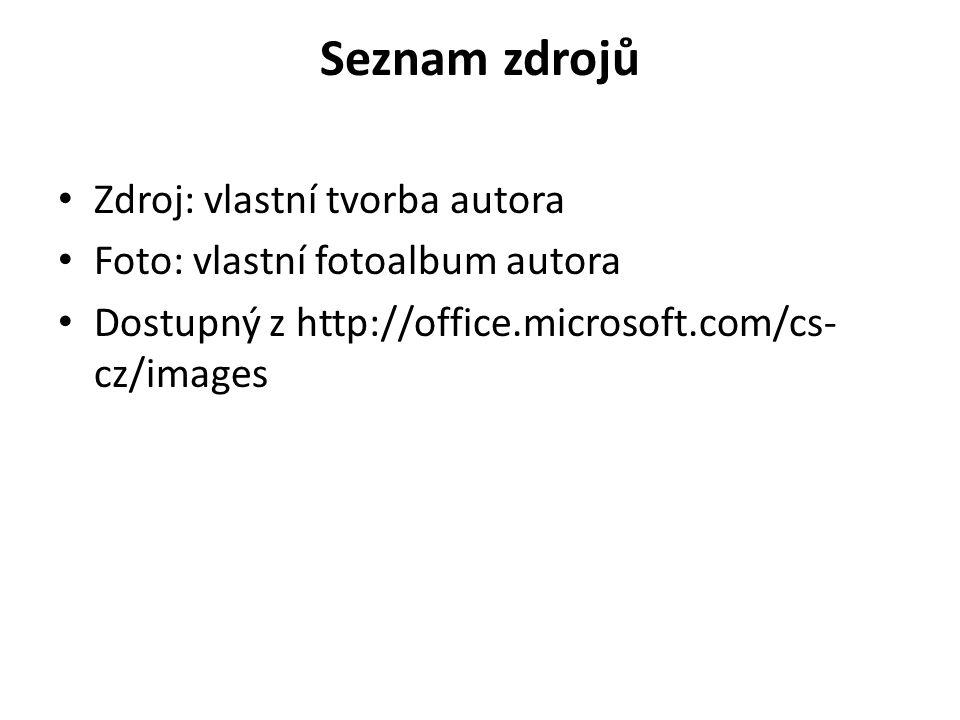 Seznam zdrojů Zdroj: vlastní tvorba autora Foto: vlastní fotoalbum autora Dostupný z http://office.microsoft.com/cs- cz/images