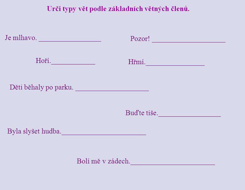 Urči typy vět podle základních větných členů.